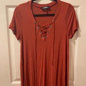Burnt Orange Lace Up Dress